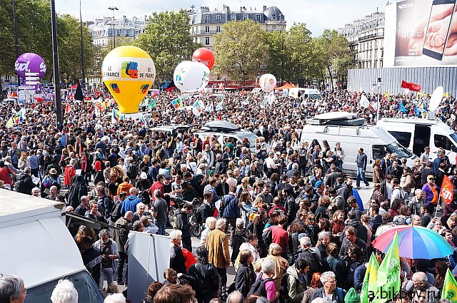 Paris, place de la Bastille, manifestation contre la reforme Macron du Code du travail, 2017